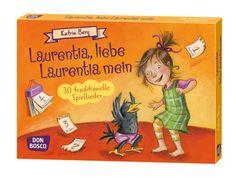 """Laurentia, liebe Laurentia mein   30 fröhlich illustrierte DIN-A5-Karten mit den schönsten traditionellen Spielliedern. Sprachförderung, verbunden mit viel Bewegung.   """"Mein Hut, der hat drei Ecken"""", """"Jetzt steigt Hampelmann"""" und """"Es tanzt ein Bi-Ba-Butzemann"""" gehören zu den Klassikern der Spiellieder: Während die Kinder singen, führen sie zum Lied passende Bewegungen aus oder spielen die ganze Handlung nach.   Von Katrin Berg   Don Bosco Medien"""