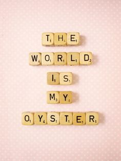 The World is My Oyster. Fine Art Photography. Scrabble Cubes. Word Dice. Wall Art. Nursery Décor. Home Décor. Pink White Polka Dots. Size A4 on Etsy, £19.89