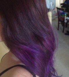 dark brown to purple ombre. my actual hair is a dream come true