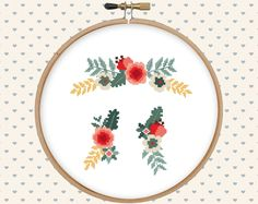 Floral ornament cross stitch pattern pdf - instant download - digital download - flower pattern pdf by GentleFeather on Etsy https://www.etsy.com/listing/277392604/floral-ornament-cross-stitch-pattern-pdf