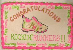 We need to do this!!! Girls On The Run cake or a Banner on race day!