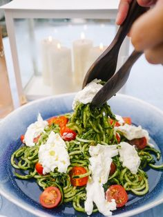 Pesto Coodles (Courgette Noodles) with Burrata and Cherry Toms
