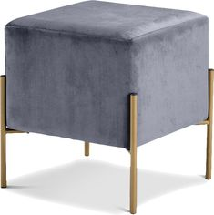 Meridian Furniture Isla Ottoman Stool Grey Velvet on Gold Stainless Steel Legs Ottoman Footstool, Fabric Ottoman, Tufted Ottoman, Ottomans, Grey Ottoman, Living Room Furniture, Modern Furniture, Antique Furniture, Kitchen Furniture