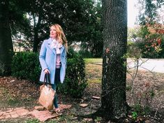 Three Heel Clicks - Pale Blue Coat and Polka Dot Scarf (Blue Coat, Vintage Polka Dot Scarf, Old Navy Jeans, Rose Gold Madden Girl Loafers, Rose Gold Betsey Johnson Tote, Who What Wear Pink Sweater)