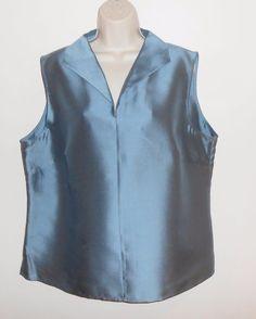 Talbots Woman 18W Silk Blouse Blue Sleeveless Career Event Plus #Talbots #Blouse