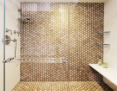 Transitional Bathroom by Jacob Snavely Photography There is just one dominant tile pattern on the wall and floor of this shower, by New York's id 810 Design Group, but it shows the power of repetition. Transitional Home Decor, Transitional Lighting, Transitional Living Rooms, Transitional Bathroom, Dream Bathrooms, Beautiful Bathrooms, Interior Windows, Bathroom Pictures, Bathroom Ideas