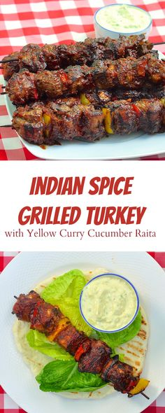 Indian Spice Grilled Turkey with Yellow Curry Cucumber Raita - combining exotic Indian spices with barbecue sauce is a taste sensation you'll crave. Works great with chicken or pork tenderloin too. too.