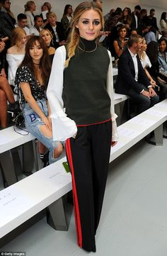 Double trouble: Olivia Palermo, 30,showcased her impeccable style twice in one day at LFW on Saturday - first heading to MaryKatrantzou in a glamorous rollneck and blouse