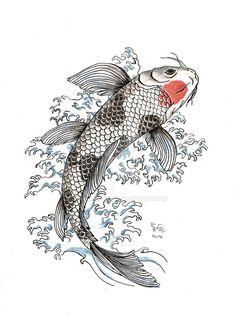 Koi by Samy-Consu. Koi Fish Drawing, Fish Drawings, Tattoo Drawings, Art Drawings, Pond Drawing, Koi Tattoo Design, Geisha Tattoo Design, Art Koi, Fish Art