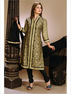 Golden/Black Formal Art Silk Suit