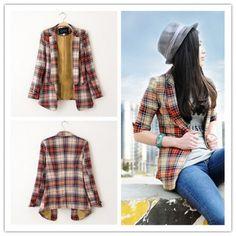 Women : Grid suit cotton blend blazer jacket elegant unique fashion final clearance GHL0149