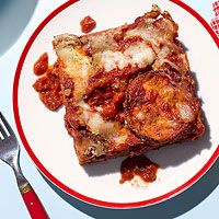 Cheesy Eggplant Parm, serve with Caesar Salad and Garlic Dots from Every Day with Rachael Ray