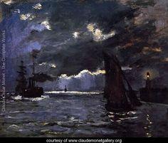 Seascape  Night Effect - Claude Oscar Monet