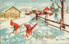 Nyttårskort Paul Lillo-Stenberg. Gutter v/skigard. No.Arbeide. Stemplet 1942