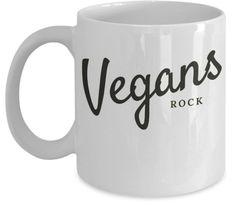 Vegans Rock funny vegan mug.