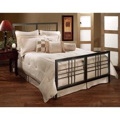 Tiburon Contemporary Metal Bed in Magnesium Pewter