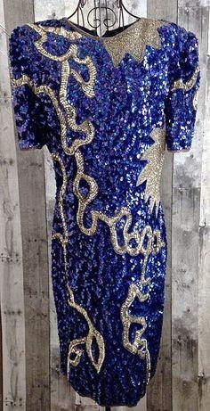 Vintage Sequin Beaded Dress 100% Silk Lined Blue Silver Mid Calf Size Medium…