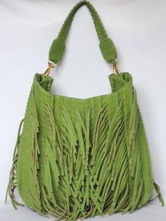 Big Buddha with Front and Side Fringe Hobo Handbag - Green