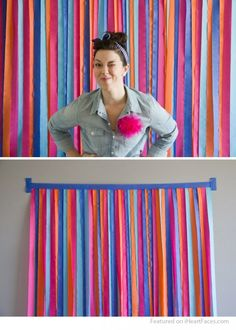 DIY Crepe Paper Streamers Photography Backdrop Idea by Lovely Indeed | Featured on I Heart Faces Photography Blog