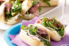 Add some excitement to your lunch-box with these gourmet roast beef rolls with sweet pears and Camembert cheese.