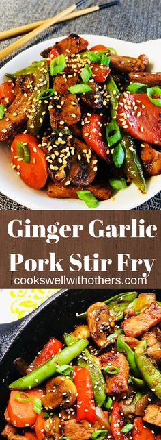 Garlic Ginger Pork Stir Fry – Cooks Well With Others - Pork Recipes Pork Stir Fry, Asian Stir Fry, Stir Fry Recipes, Pork Recipes, Drink Recipes, Asian Recipes, Recipies, Meat Appetizers, Appetizer Recipes