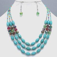 Multi Layered Stone & Glass Bead Necklace