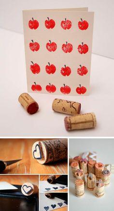 stempel anfertigen, rote äpfel, basteln mit weinkorken, herz