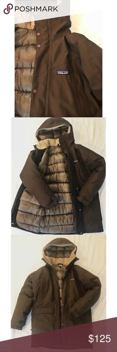 Patagonia 3 in 1 Down Jacket Amazing Patagonia Jacket that is extremely well made, heavy and WARM. This coat will keep you warm in a blizzard! It's a lovely earthy brown color that goes with anything. I'm so sad it doesn't fit me, or I'd be living in it. Retails for $398. Multiple pockets and a hood. Women's small but would could also fit a medium in my opinion. It's simply too big for me. Patagonia Jackets & Coats Puffers