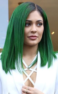Kylie Jenner Unveils Dark Green Hair for Her Lip Kit Launch Party—See Her Colorful New 'Do!  Kylie Jenner