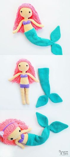 CROCHET PATTERN - Mindy the Mermaid Doll - Amigurumi
