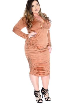 Make a statement and look and feel sexy with this stylish dress! Featuring ruched, v neck, burnout print, long sleeves, and fitted. 92% Polyester, 8% Spandex