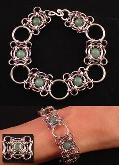 Chain Maille Bracelet with Aventurine
