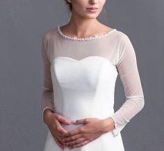 Delicate simple tulle bolero Long sleeve tulle by LovelyLaceBridal