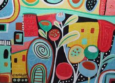 Life's A Jungle 5x7 inch ORIG Canvas Panel PAINTING Abstract FOLK ART Karla G #FolkArtAbstractPrimitiveLandscape