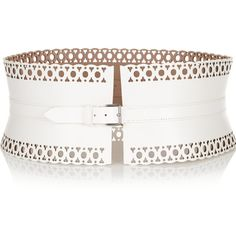 Alaïa Laser-cut leather waist belt ($635) ❤ liked on Polyvore featuring accessories, belts, white, genuine leather belt, leather belt, white belt, alaïa and 100 leather belt