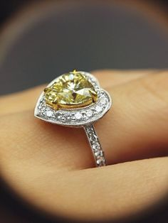 Stunning 3.00 ct Heart Shaped Fancy Yellow Diamond 18K White Gold Ring, GIA Certified | I Do Now I Don't