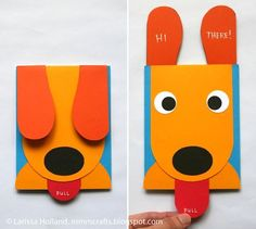 una tarjeta casera con un perrito que saca la lengua