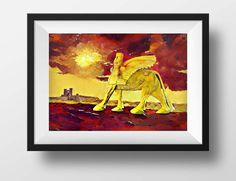 Assyrian Art, Lamassu Art, Art Prints, Ancient Assyria, Digital Art, Winged Bull, Digital Painting, Haroot Art, Semi Abstract Art, Wall Art