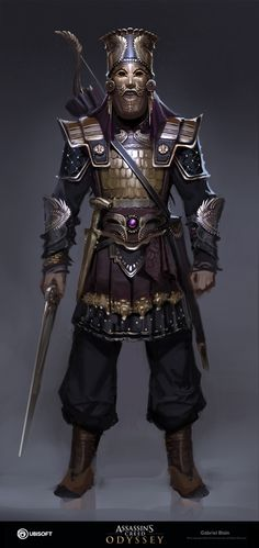 Done for Assassins Creed Odyssey! Fantasy Armor, Medieval Fantasy, Dark Fantasy, Arte Assassins Creed, Assassins Creed Odyssey, Fantasy Character Design, Character Design Inspiration, Persian Tattoo, Persian Warrior