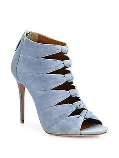 Aquazzura Nasiba Knotted Suede Peep-Toe Sandals<br>            Need to have !