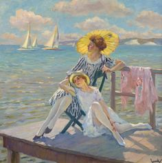 Cucuel, Edward, In the Sun  Oil on canvas, signed and inscribed verso. Frame size:  47.5 x 47.5in