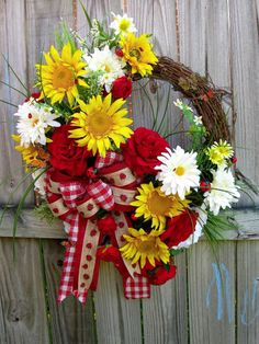 Sunflowers Ladybugs Country Garden Wreath, Summer, Red, burlap, daisy, rose XL