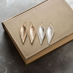 Double Metallic Leather Leaf Earrings - Magnolia Market   Chip & Joanna Gaines