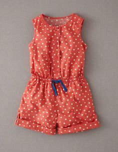 Ex Mini Boden Cute Girls Spotty Playsuit shorts 3 Colours available Baby Dress Design, Baby Girl Dress Patterns, Frocks For Girls, Little Girl Dresses, Baby Girl Fashion, Kids Fashion, Baby Frocks Designs, Baby Sewing, Kind Mode