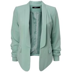 Carolyn blazer ($44) ❤ liked on Polyvore featuring outerwear, jackets, blazers, tops, coats, green jacket and green blazer