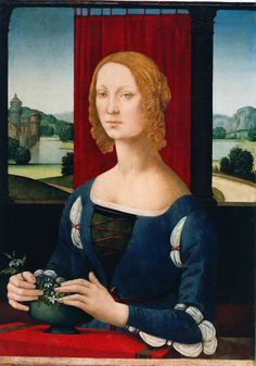 La dama dei gelsomini by Lorenzo di Credi. 1480-83 - likely Caterina Esforza. Gamurra also looks brown in other scans.