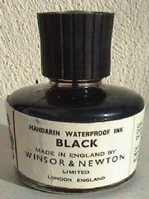 Vintage Stationery Office Winsor & Newton London Mandarin Black Ink Bottle Unused Circa 1970s £7 #FollowVintage