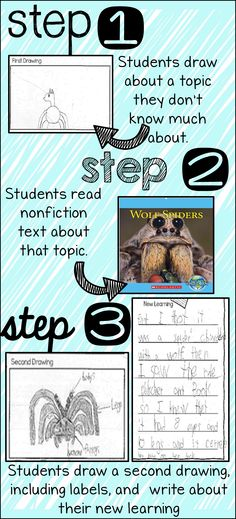 FREEBIE! This is one of my all-time favorite quick writing strategies. It can be used with any topic and can serve as a pre or post assessment. Just select a topic and grab a nonfiction text from your school library. Ask your students to draw a picture of the topic before you read the text, then read the text and have them draw a second picture.