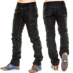 Neu Herren Jeans Hose Vintage Designer Clubwear Destroid schwarz Tokyo Plus