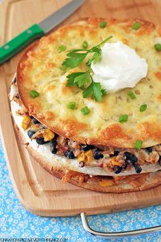 Chicken & Black Bean Enchilada Stacks #dinnerrecipes